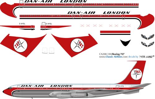 1/200 Scale Decal Dan-Air London 707