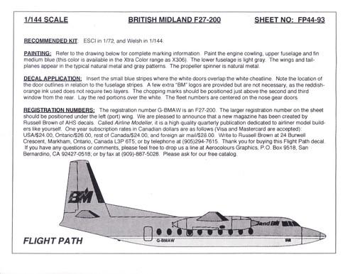 1/144 Scale Decal British Midland F-27-200