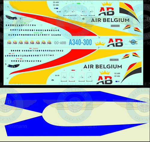 1/144 Scale Decal Air Belgium A340-300 With Lifelike Cockpit & Windows