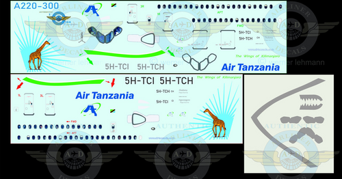 1/144 Scale Decal Air Tanzania A220-300 With Lifelike Cockpit & Windows