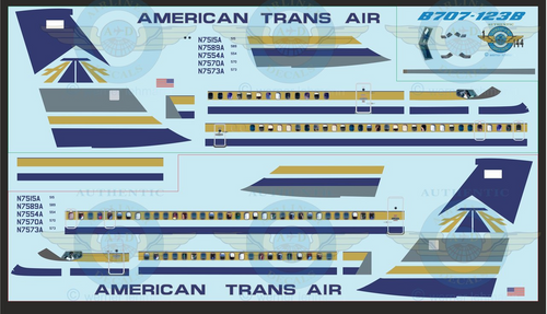 1/144 Scale Decal American Trans Air  707-100 With Lifelike Cockpit & Windows