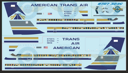 1/144 Scale Decal American Trans Air  707-300 With Lifelike Cockpit & Windows