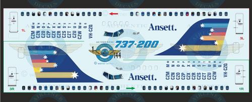 1/144 Scale Decal Ansett Australia 737-200 With Lifelike Cockpit & Windows