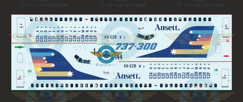 1/144 Scale Decal Ansett Australia 737-300 STAR MARK With Lifelike Cockpit & Windows