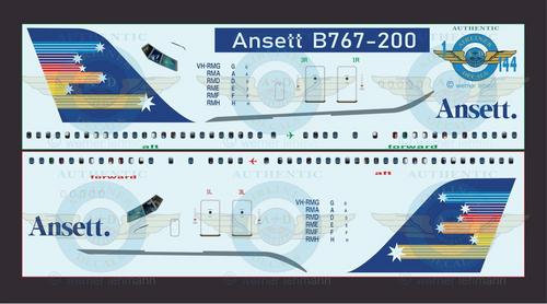 1/144 Scale Decal Ansett Australia 767-200 With Lifelike Cockpit & Windows
