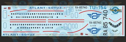 1/144 Scale Decal Atlant - Soyuz TU-154 With Lifelike Cockpit & Windows