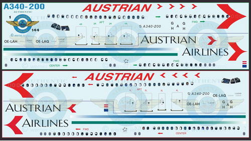 1/144 Scale Decal Austrian Airlines A340-200 With Lifelike Cockpit & Windows