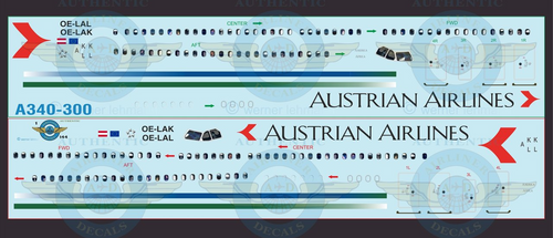 1/144 Scale Decal Austrian Airlines A340-300 With Lifelike Cockpit & Windows