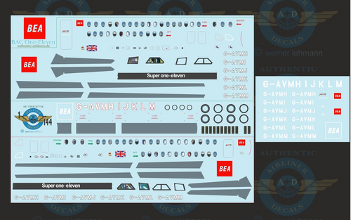 1/144 Scale Decal BEA RED Square BAC111-500 With Lifelike Cockpit &  Windows