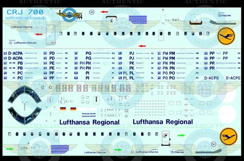 1/144 Scale Decal CityLine CRJ700 Lufthansa Regional With Lifelike Cockpit &  Windows