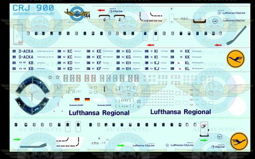 1/144 Scale Decal CityLine CRJ900 Lufthansa Regional With Lifelike Cockpit &  Windows