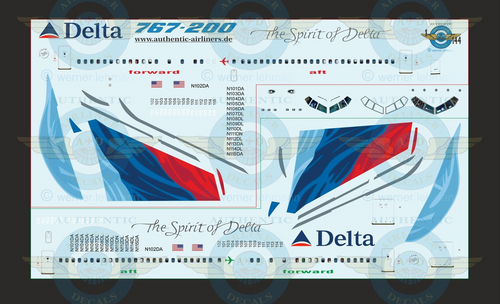 1/144 Scale Decal Delta 767-200 With Lifelike Cockpit &  Windows