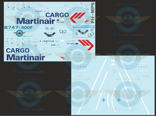 1/144 Scale Decal Martinair Cargo 747-400F With Lifelike Cockpit &  Windows