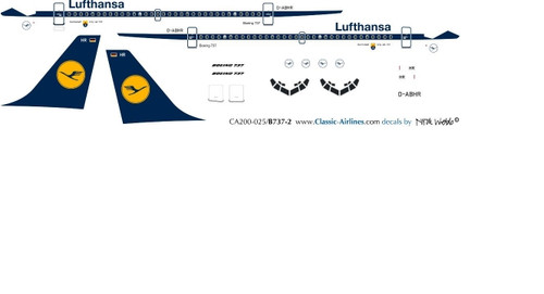 1/72 Scale Decal Lufthansa 737-200