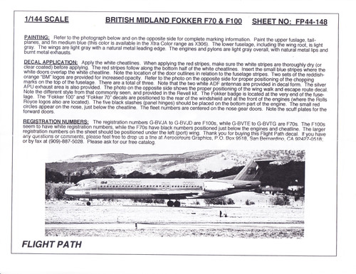 1/144 Scale Decal British Midland F-70 / F-100