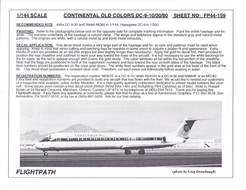 1/144 Scale Decal Continental DC9-10 / 30 MD-80