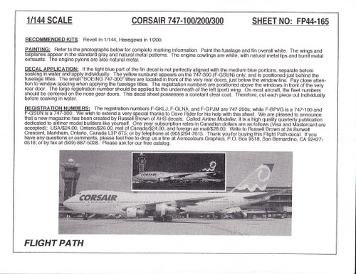 1/144 Scale Decal Corsair 747-100 / 200 / 300