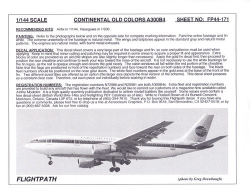1/144 Scale Decal Continental A300-B4
