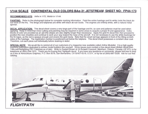 1/144 Scale Decal Continental BAe-31 Jetstream
