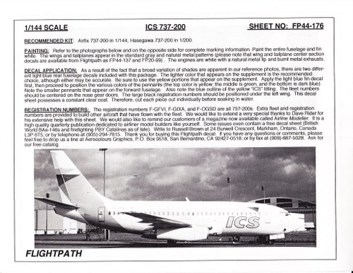 1/144 Scale Decal ICS 737-200