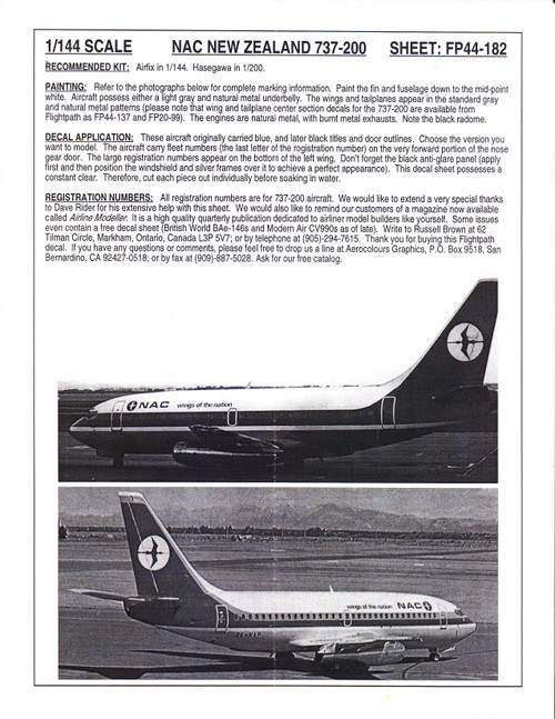 1/144 Scale Decal NAC New Zealand 737-200