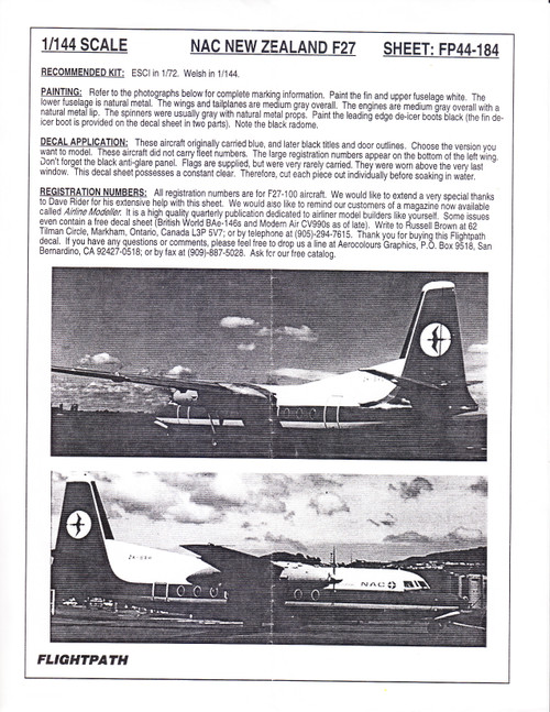 1/144 Scale Decal NAC New Zealand F-27