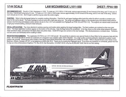 1/144 Scale Decal LAM Mozambique L-1011