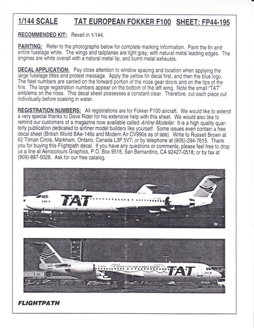 1/144 Scale Decal TAT European Airlines F-100