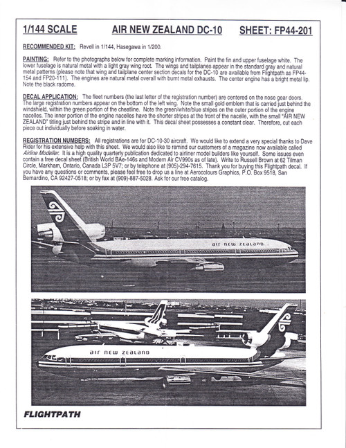 1/144 Scale Decal Air New Zealand DC10-30