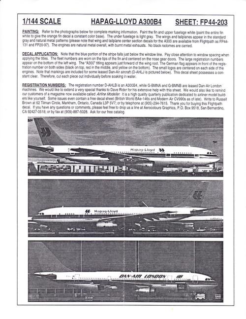1/144 Scale Decal Hapag-Lloyd / Dan-Air London A300-B4