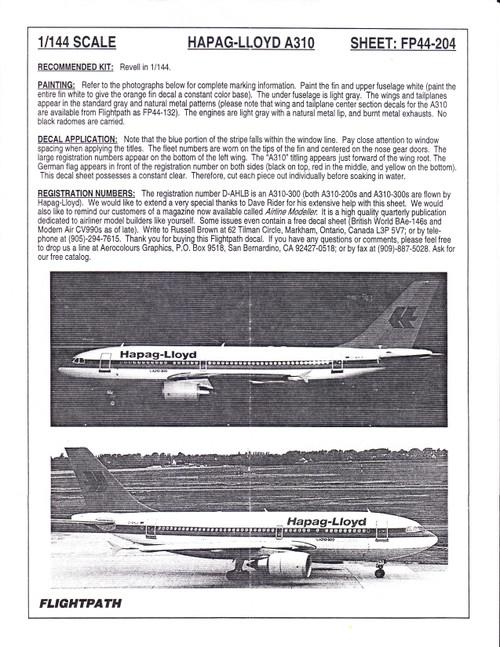 1/144 Scale Decal Hapag-Lloyd A-310