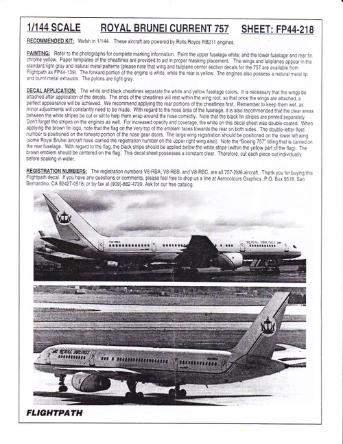 1/144 Scale Decal Royal Brunei 757-200