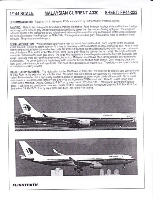 1/144 Scale Decal Malaysia A-330