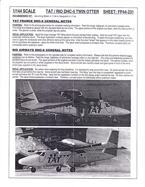1/144 Scale Decal Rio Air & TAT Twin Otter