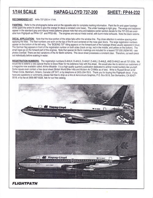 1/144 Scale Decal Hapag-Lloyd 737-200