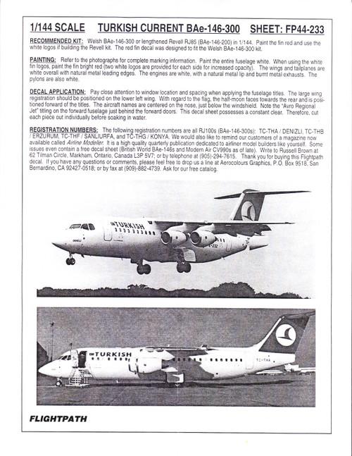 1/144 Scale Decal Turkish Air BAe-146