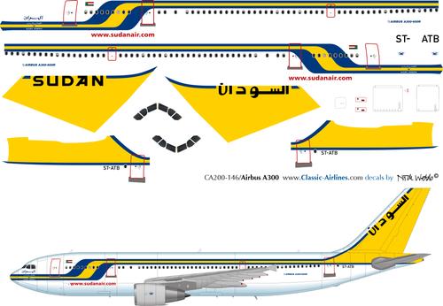 1/200 Scale Decal Sudan Airways A-300