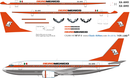 1/200 Scale Decal AeroMexico 737-300