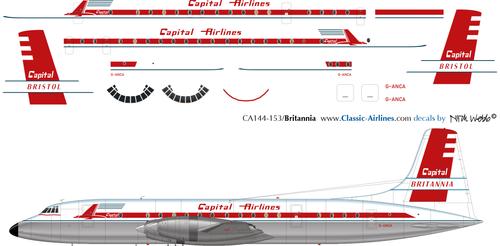 1/200 Scale Decal Capital Airlines Britannia