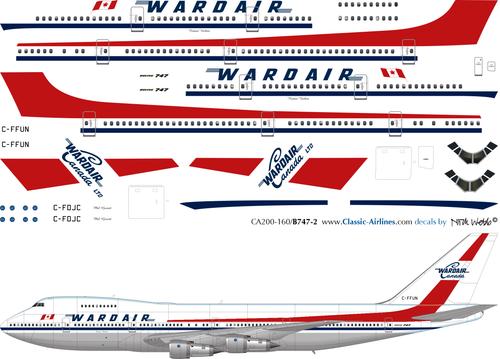 1/200 Scale Decal Wardair Canada 747
