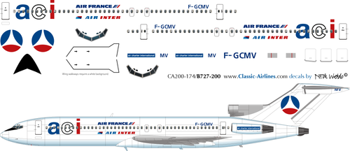 1/200 Scale Decal ACI / Air France / Air Inter 727-200