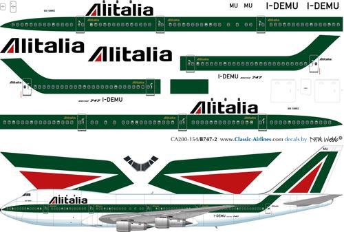 1/200 Scale Decal Alitalia 747-200