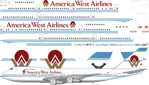 1/200 Scale Decal America West 747-200