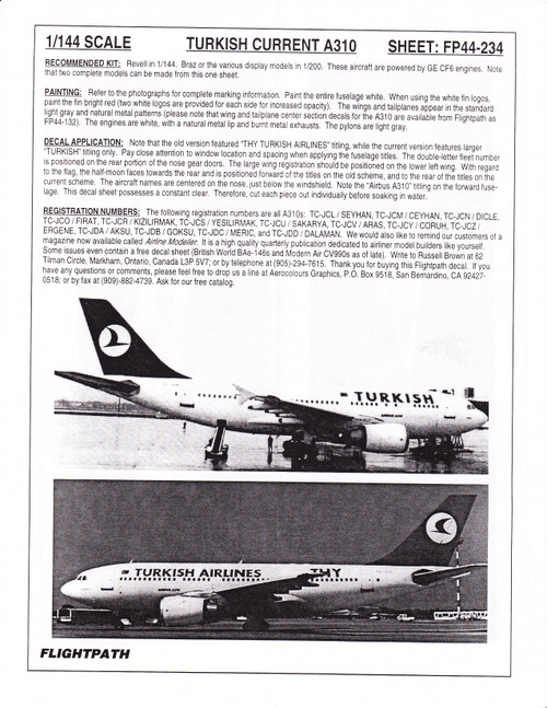 1/144 Scale Decal Turkish Airlines A-310