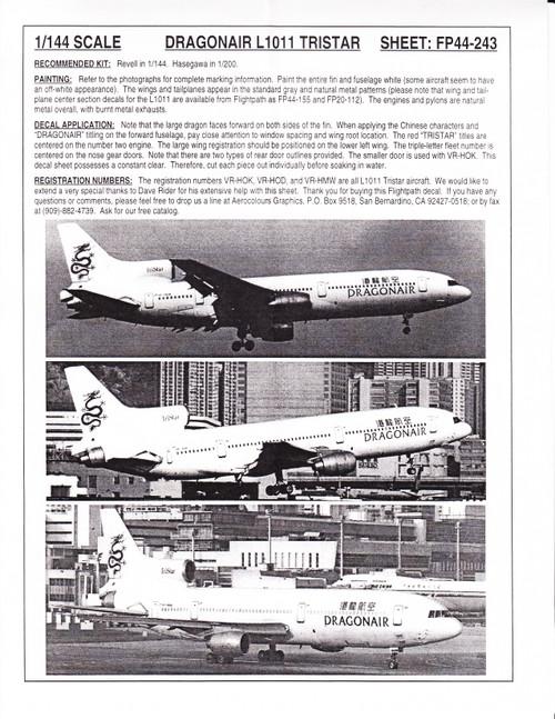 1/144 Scale Decal Dragonair L-1011