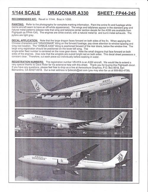 1/144 Scale Decal Dragonair A-330