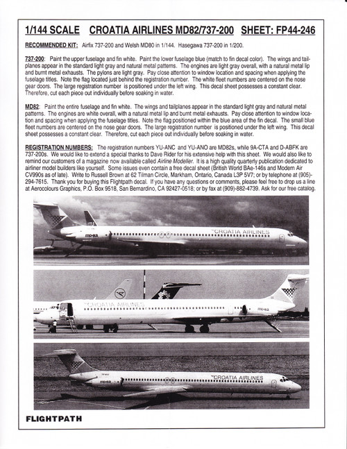 1/144 Scale Decal Croatia Airlines 737-200 & MD-82