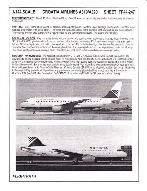 1/144 Scale Decal Croatia Airlines A-319 & A-320