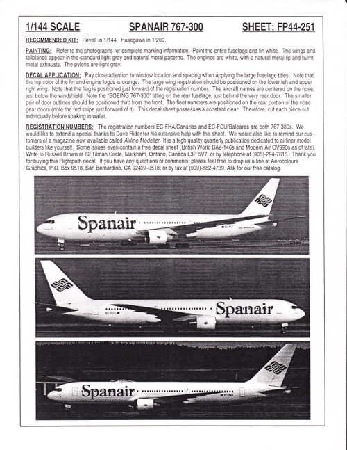 1/144 Scale Decal Spanair 767-300