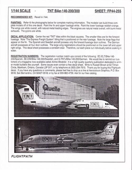 1/144 Scale Decal TNT BAe 146-200 / 300
